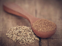 Crushed cumin with whole Stock Photo