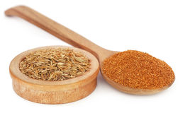 Crushed cumin with whole ones Royalty Free Stock Photos