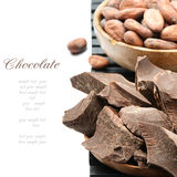 Crushed dark chocolate with cocoa beans Royalty Free Stock Images