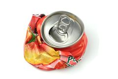 Crushed drink can. On white background Royalty Free Stock Photos