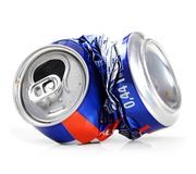 Crushed drink can on white royalty free stock photo