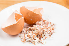 Crushed egg shell on plate Royalty Free Stock Photography