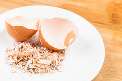 Crushed egg shell on plate Stock Image
