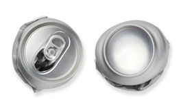 Crushed empty blank soda, beer can garbage, Realistic photo image. Crumpled junk can can recycle isolated on white background Royalty Free Stock Photos