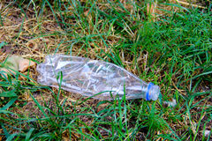 Crushed empty plastic bottle on a grass Royalty Free Stock Photos