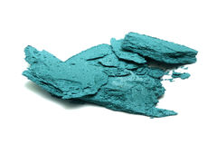 Crushed eye shadows. Turquoise blue color Stock Photo