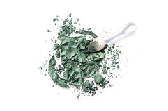 Crushed eyeshadow isolated on white background. Crushed eyeshadow green isolated on white background Stock Photos