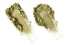 Crushed eyeshadow isolated on white background. Crushed green eyeshadow isolated on white background Stock Photos