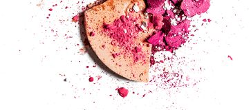 Crushed eyeshadow palette and powder close-up isolated on white background. Beauty texture, cosmetic product and art of make-up concept - Crushed eyeshadow stock images