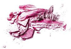 Crushed eyeshadow, powder and liquid foundation close-up isolated on white background. Beauty texture, cosmetic product and art of make-up concept - Crushed royalty free stock image