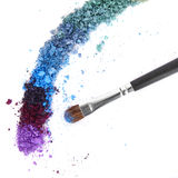 Crushed eyeshadow. Smashed eyeshadow on a white background Royalty Free Stock Images
