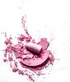 Crushed eyeshadows, lipstick and powder isolated on white background. Beauty texture, cosmetic product and art of make-up concept - Crushed eyeshadows, lipstick stock photography