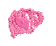 Crushed facial pink eyeshadow on white background. Royalty Free Stock Photo