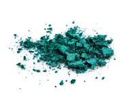 Crushed green eye shadow on white background Stock Photos