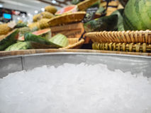 Crushed ice Fresh Food and drink Display. Crushed ice Fresh Food and drink Mock up Display in Market royalty free stock photo