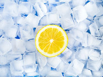 Crushed ice and lemon. The texture of crushed ice cubes and lemon Stock Images