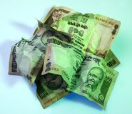 Crushed Indian Currency Royalty Free Stock Photos