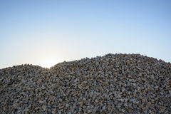Crushed limestone aggregate stock photo
