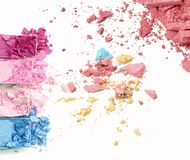 Crushed make up paletted close up. Cosmetic.  stock image