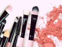 Crushed make up powder cosmetic. Brush make up set.  Royalty Free Stock Image