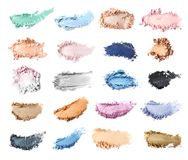 Crushed makeup products on white background. royalty free stock photo