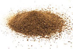 Crushed malt grains fermenting idolated on white background Stock Photo