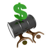Crushed by oil barrel price icon. Symbol illustration royalty free illustration