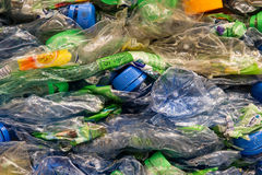 Crushed PET-bottles. A stack of Crushed PET bottles Stock Photos