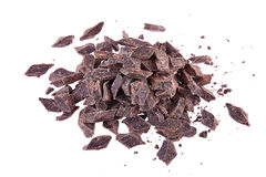 Crushed pieces of dark chocolate Stock Photos