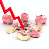 Crushed piggy bank over white Royalty Free Stock Photo