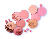 Crushed pink, beige and golden blush and eyeshadow Royalty Free Stock Photo