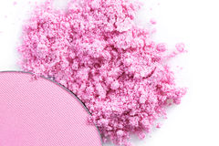 Crushed pink eye shadow Or blush isolated on white background Stock Photos