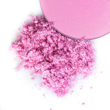 Crushed pink eye shadow Or blush  on white background Stock Image