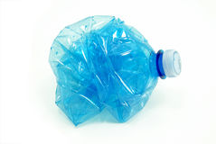Crushed plastic bottle isolated Royalty Free Stock Image