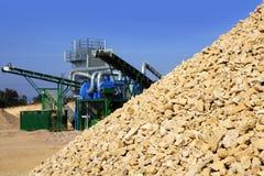 Crushed pound stone mound quarry Stock Photos