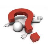 Crushed by Question. 3D rendered figure being crushed by a heavy red question mark sign Royalty Free Stock Photos