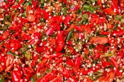 Crushed red chili background Stock Photo