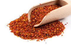Crushed red chili pepper. In spoon on white background royalty free stock photos