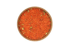 Crushed red spices in a wooden bowl Royalty Free Stock Photography