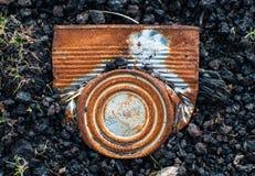 Crushed and rusty tin can Stock Photos