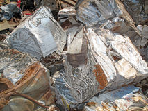 Crushed Scrap Metal. Stock Photo