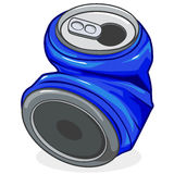 Crushed soda can. Vector illustration of a crushed tin can Stock Photo