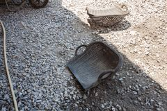 Crushed stone aggregate sub grade material. For highway construction royalty free stock images