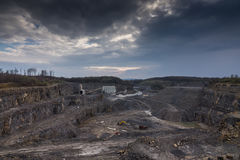 Crushed stone factory in a quarry Stock Photos