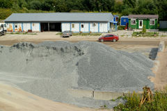 Crushed stone in the territory of production of concrete Stock Photo