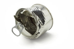 Crushed tin can. Crushed open tin can lying on white background Stock Photography
