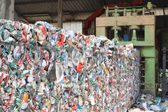 Crushed tin cans for recycling Stock Image