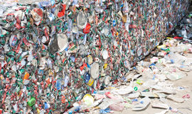 Crushed tin cans for recycling Royalty Free Stock Image