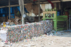 Crushed tin cans for recycling Stock Images