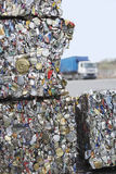 Crushed Tin Cans For Recycling. Stakes of crushed tin cans for recycling Royalty Free Stock Images